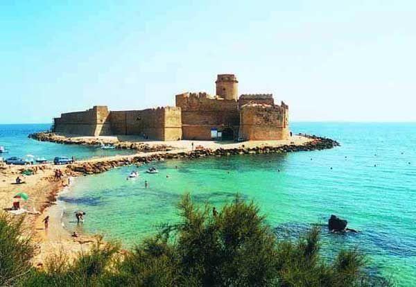 Le Castelle, Calabria, Italy. A sand castle on