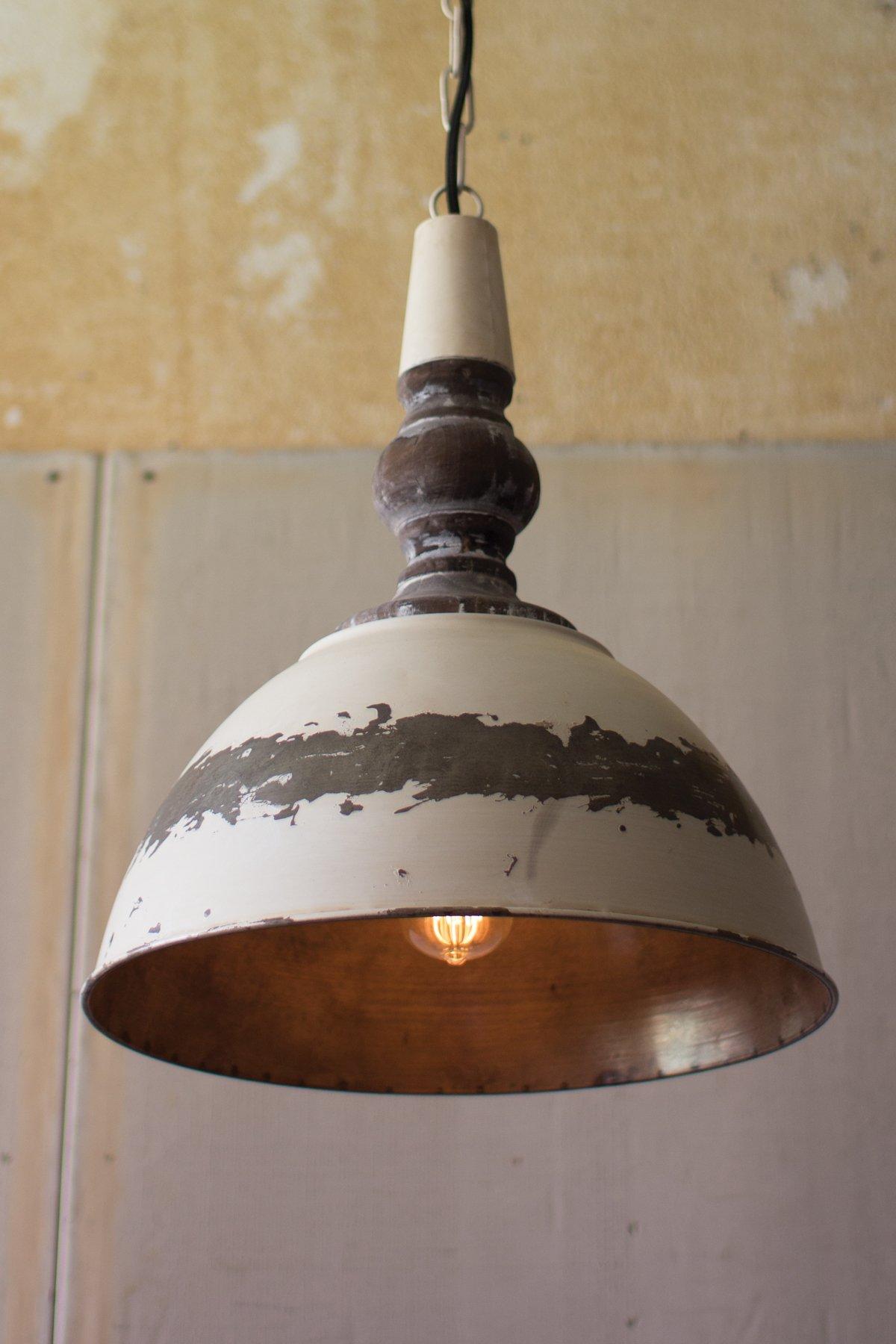 Antique Buttermilk Metal Pendant Light Rustic Pendant Lighting