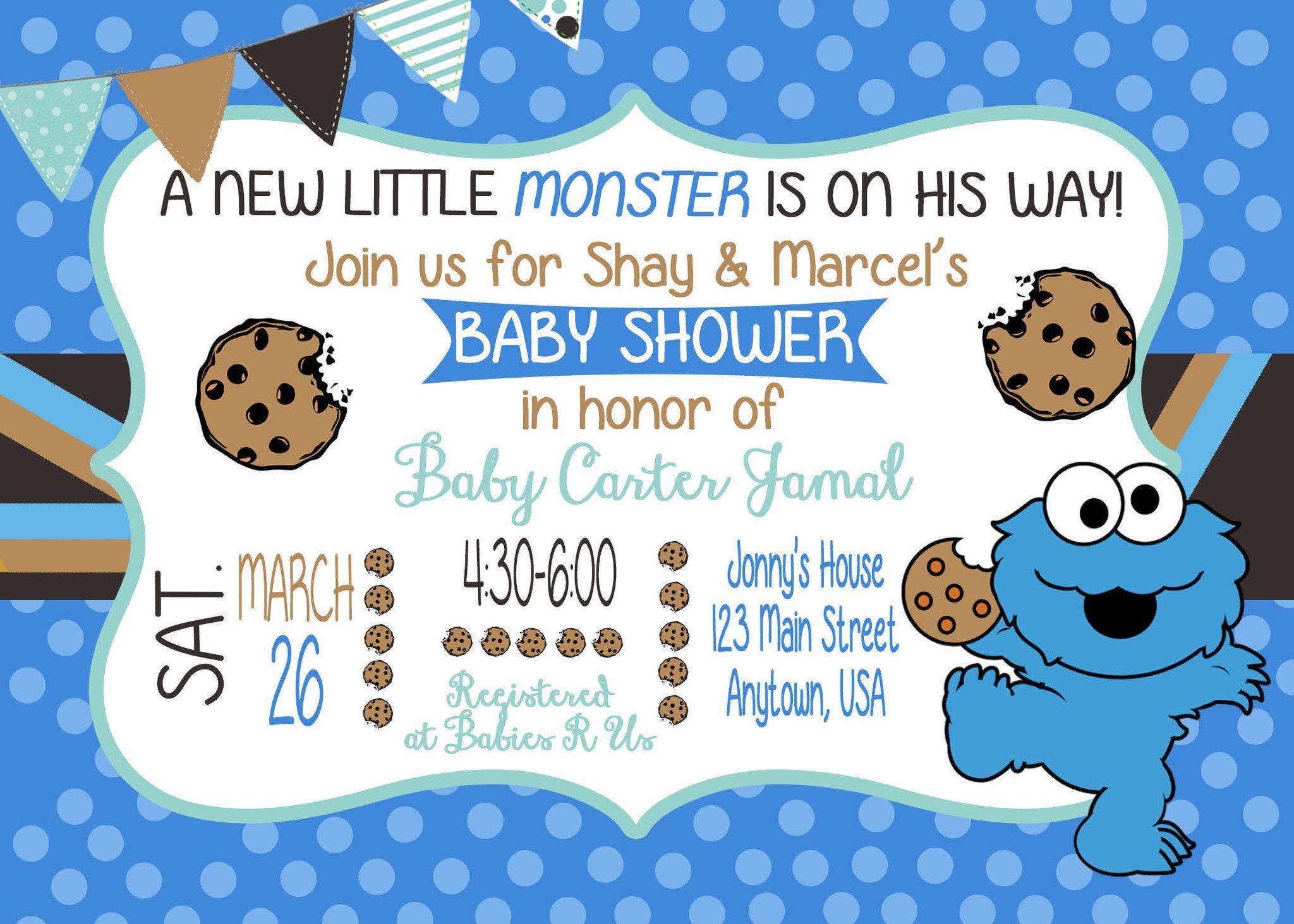 Cookie Monster Baby Shower Invitation | Cookie Monster | Pinterest ...