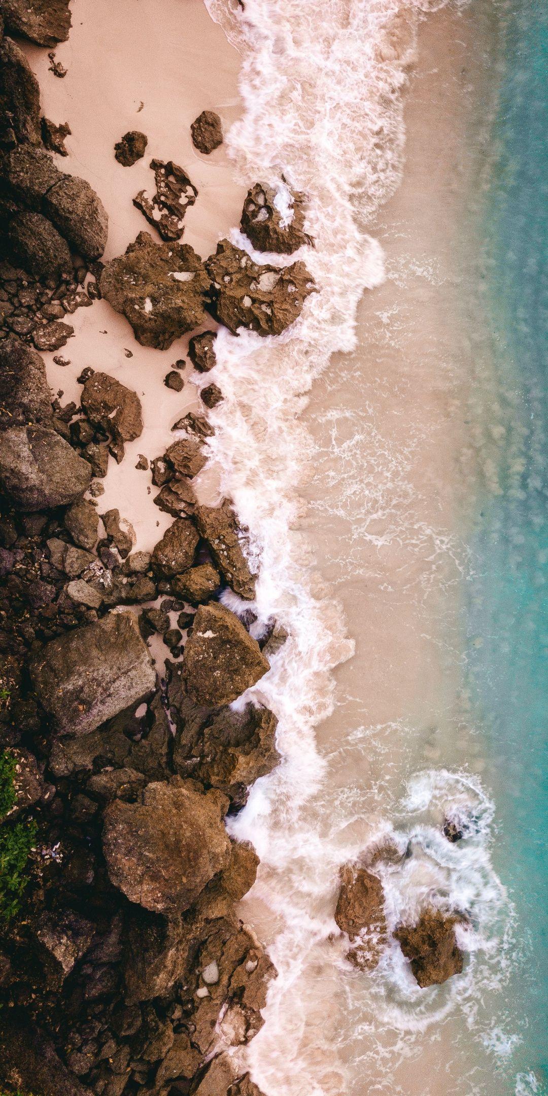 Beach Aerial View Rocks Sea Waves Sea 1080x2160 Wallpaper Drone Photography Aerial Photography Drone Aerial View Drone aerial shot trees beach coast