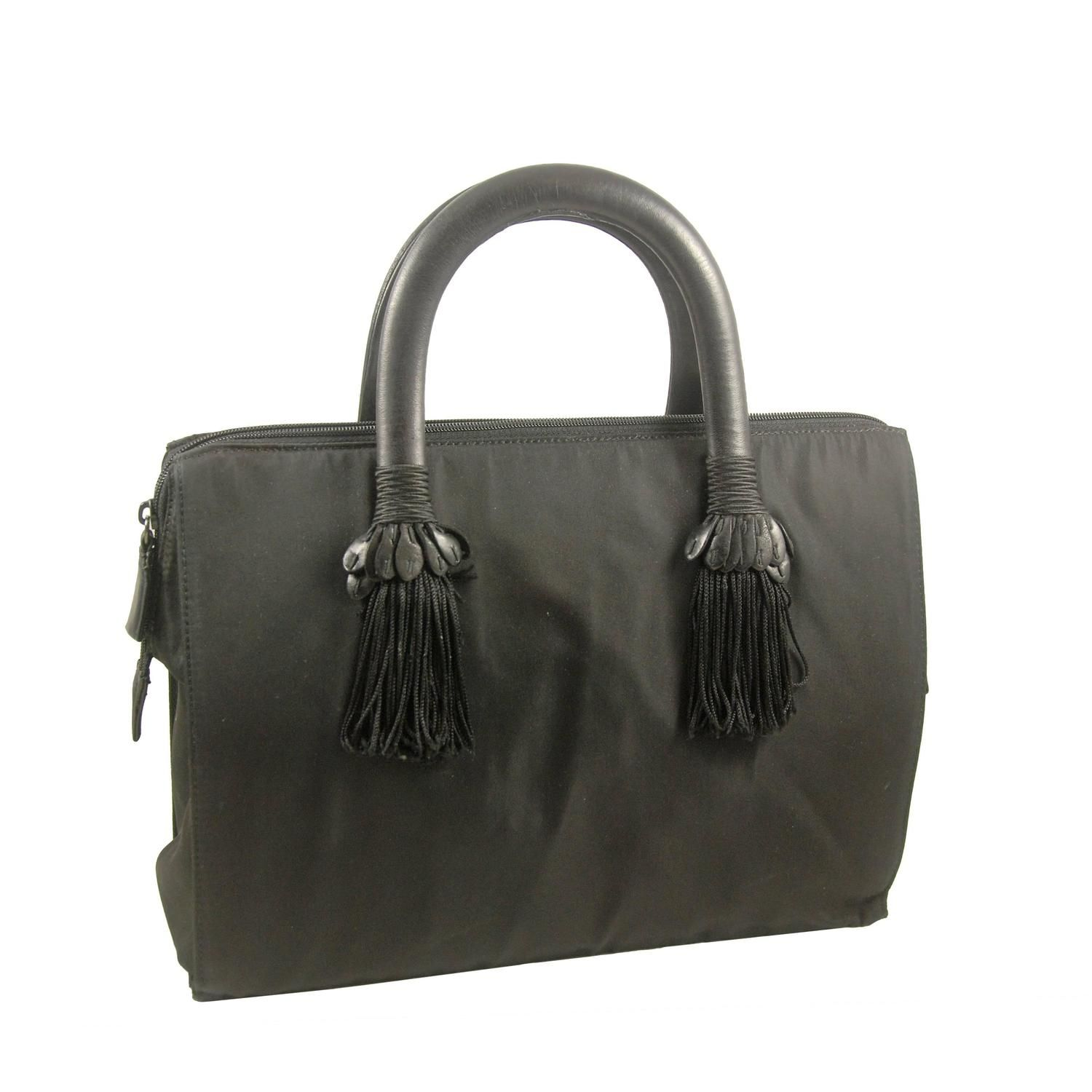 1a87b3ceafed For Sale on - Vintage Prada speedy type bag from the late or early This bag  is embellished with black fringe on the front and rear.