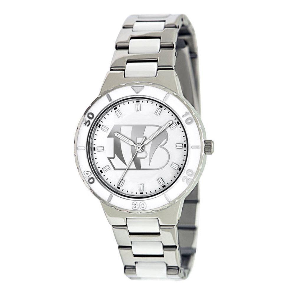 Pearl Cincinnati Bengals Ladies Stainless Steel & Ceramic Watch