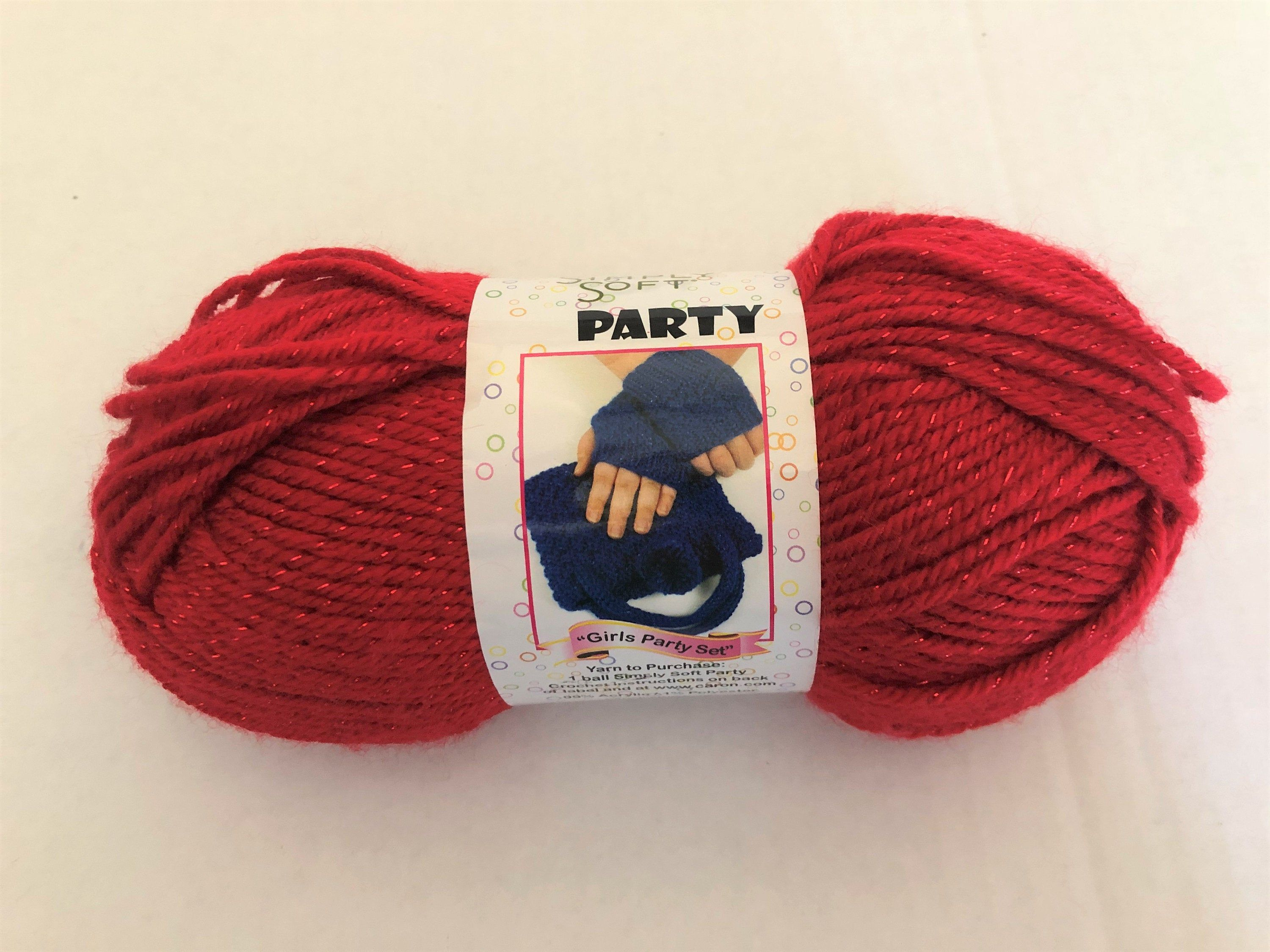 Caron Simply Soft Party Yarn-Rich Red Sparkle