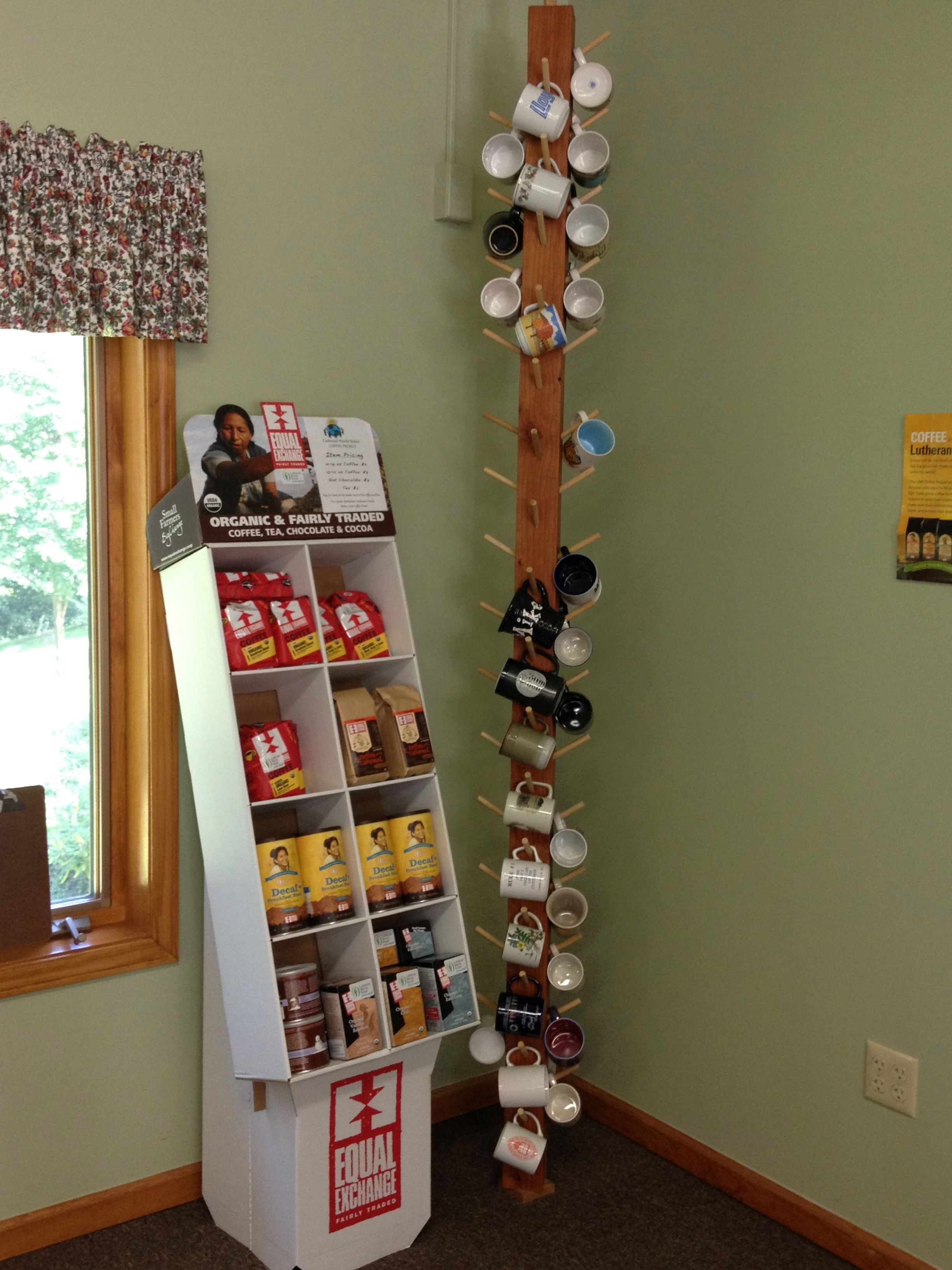 Floor To Ceiling Mug Rack And Equal Exchange Coffee Display Pic By Me At Bethlehem Lc Sturbridge Ma Mug Storage Coffee Mug Storage Mug Display