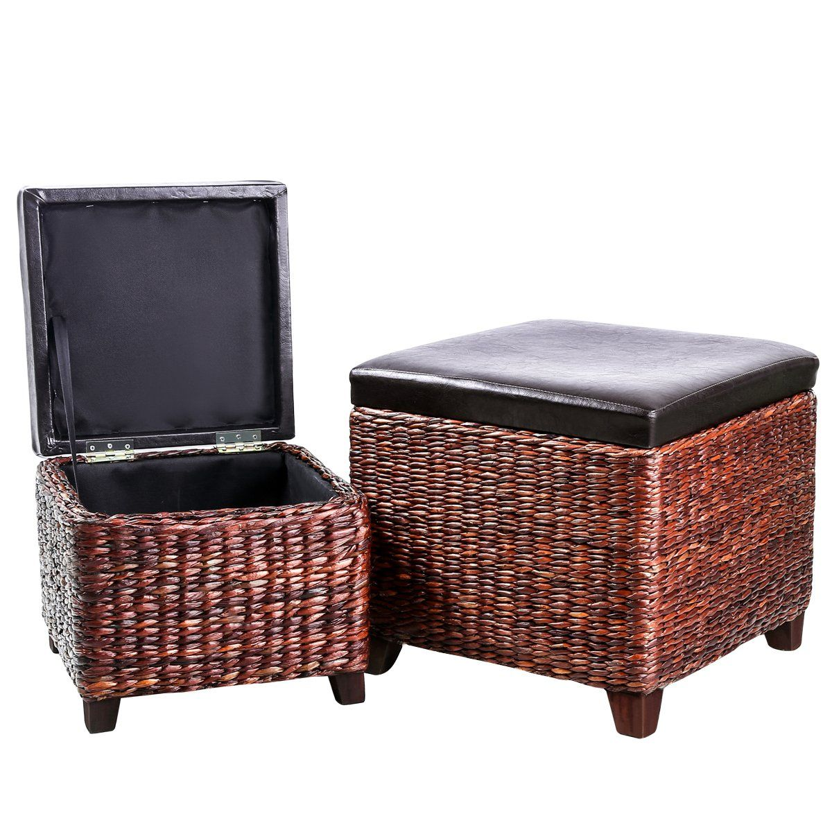 Eshow Ottoman Rattan Ottoman With Storage Hassocks And Ottomans Foot Rest Pouf Ottoman Foot St Storage Ottoman Living Room Storage Luxury Furniture Living Room