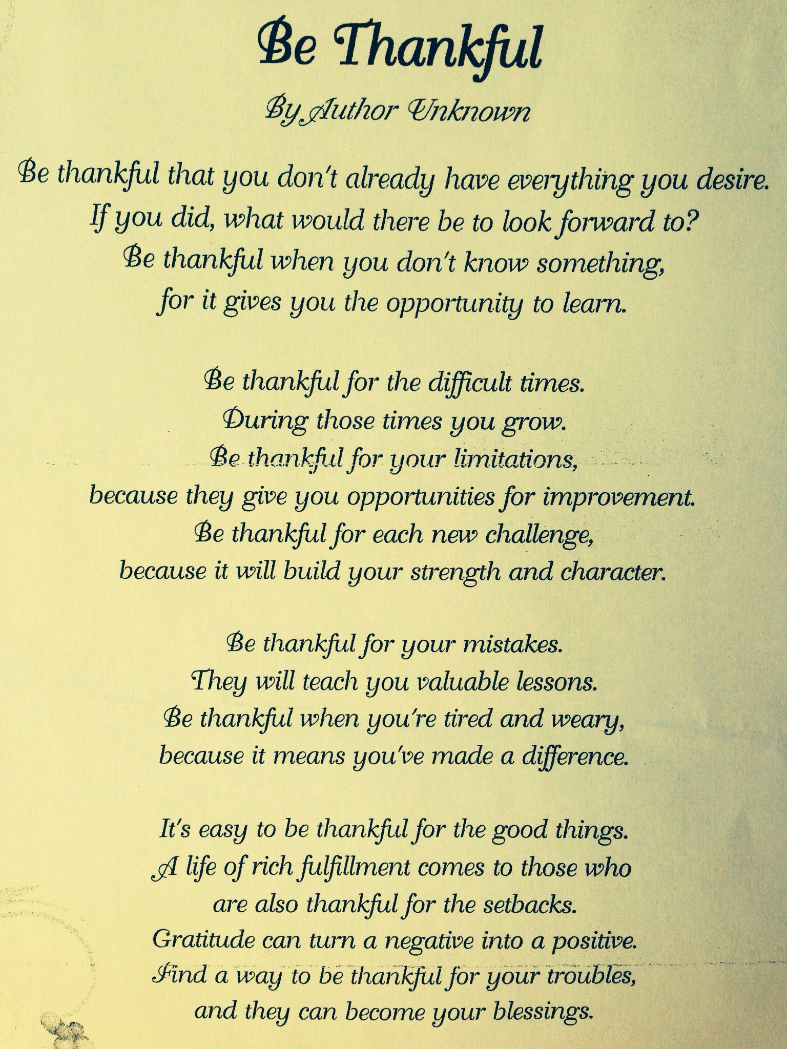 Be Thankful~ author unknown | Prayer | Prayer verses ...