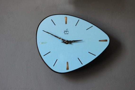 Vintage Mid Century Retro 60 S French Japy Blue Wall Etsy Blue Wall Clocks Vintage Clock Clock