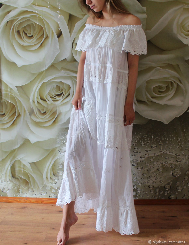 e4499a6462a Платье бохо летнее белое с кружевом Из пены морской – купить в интернет- магазине на Ярмарке Мастеров с доставкой - FBW7BRU