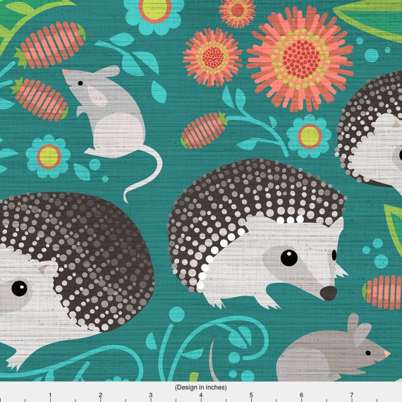 Woodland Animals Fabric  Hedgehog And Mice by Spoonflower on Etsy