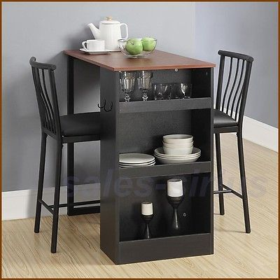 Bar Height Dining Set Table Chairs Counter 3 Piece Kitchen
