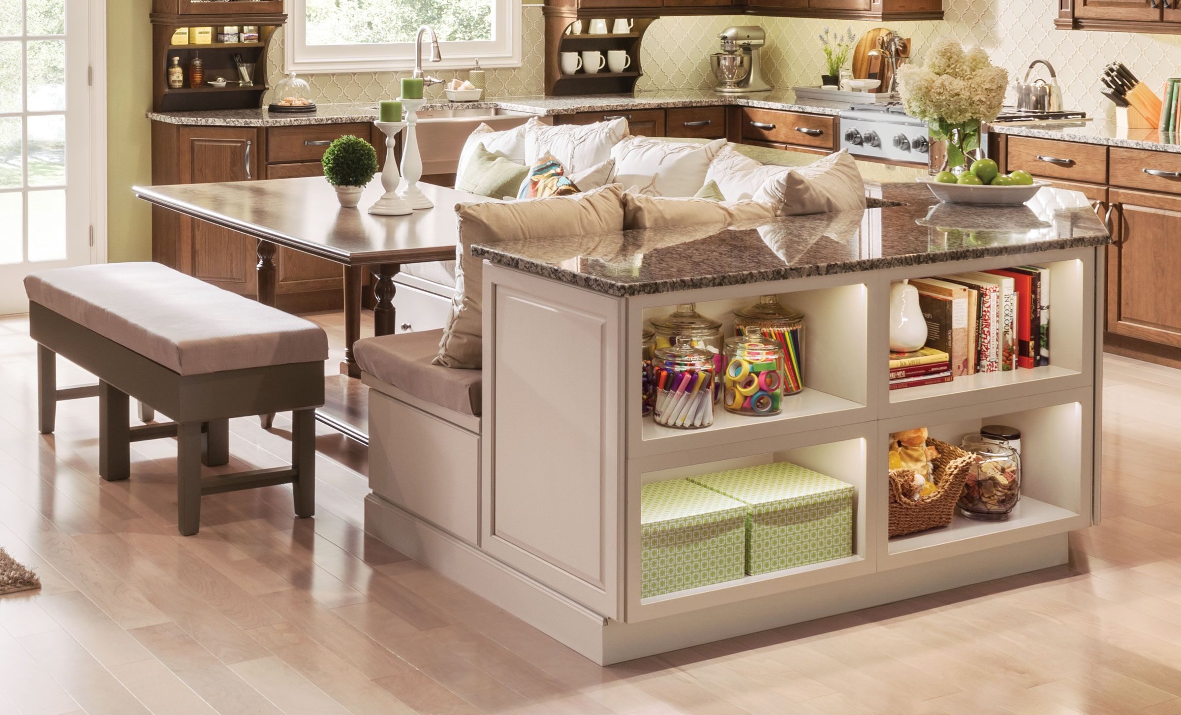 Kraftmaid 39 s open shelving in chai with cocoa glaze for Dove white cabinets with cocoa glaze