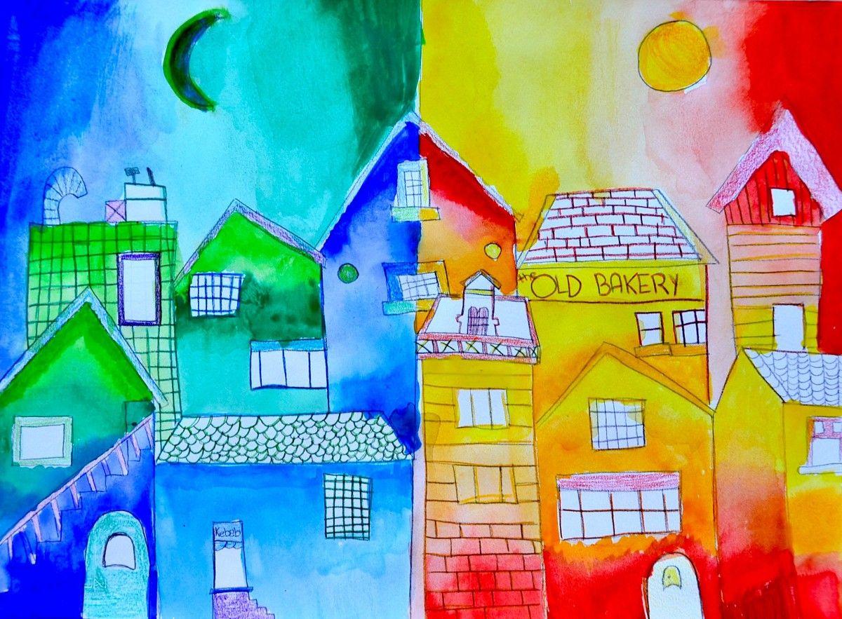 Piccolo Borgo A Colori Caldi E Freddi Colori Caldi Pinturas E Arte