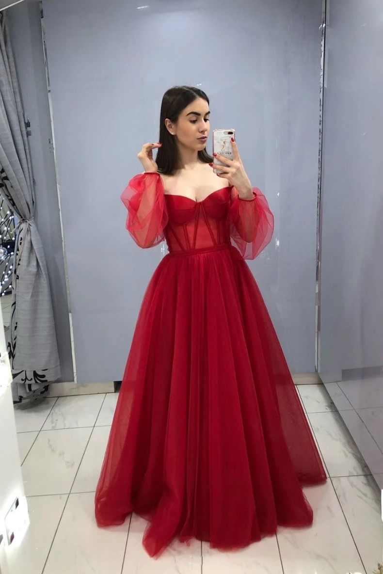 Handmade Item Materials Tulle Made To Order Color Refer To Image Process Prom Dresses Long With Sleeves Prom Dresses With Sleeves Burgundy Evening Dress [ 1184 x 790 Pixel ]