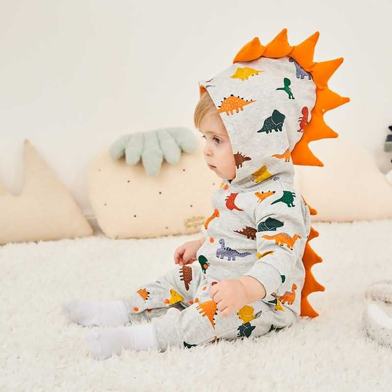 Gray Baby Boys Dinosaur Hooded Collar Long Sleeve Cute Jumpsuit
