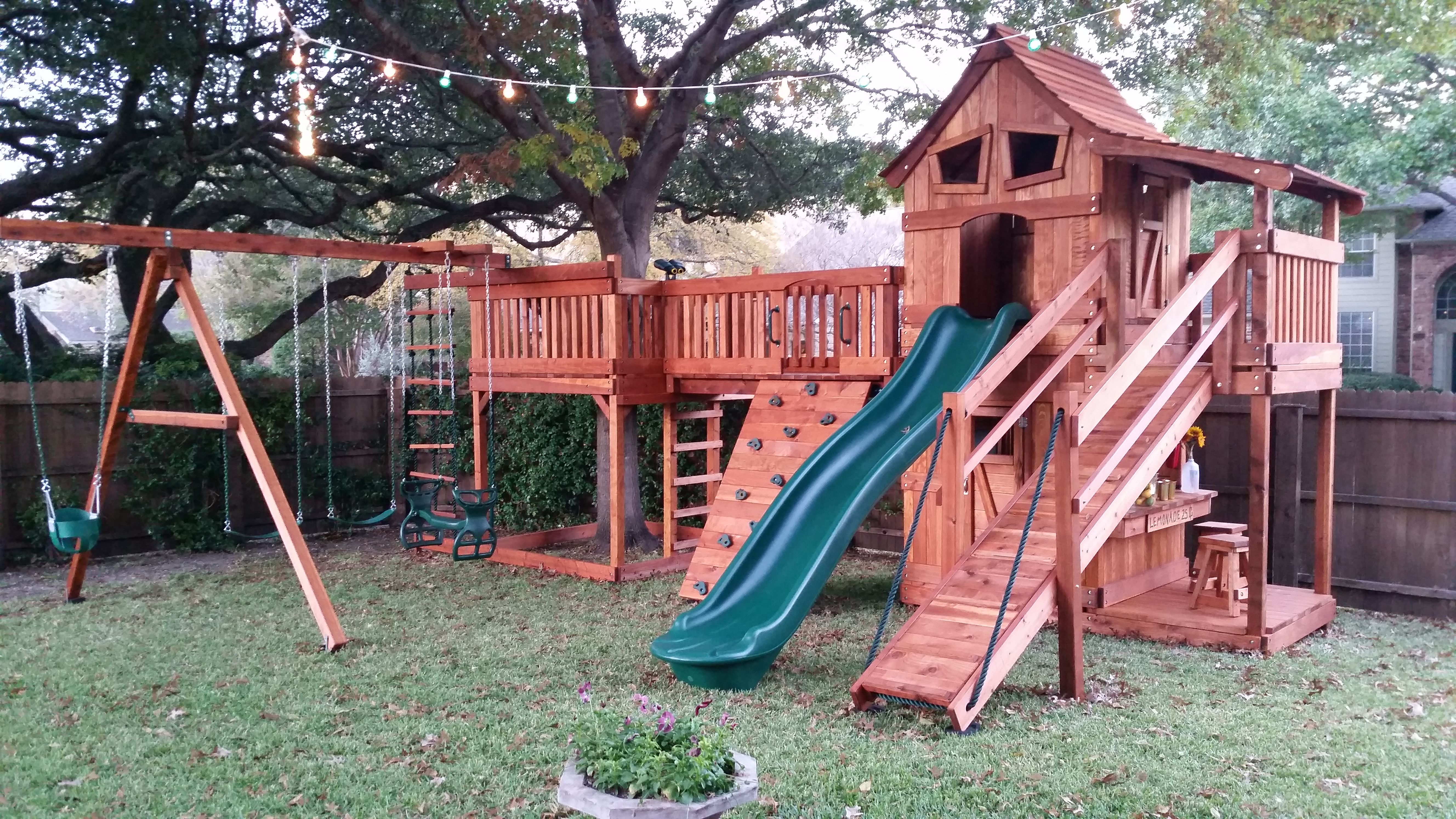 Bridged Wooden Swing Sets Backyard Swing Sets Deck Designs Backyard Decks Backyard
