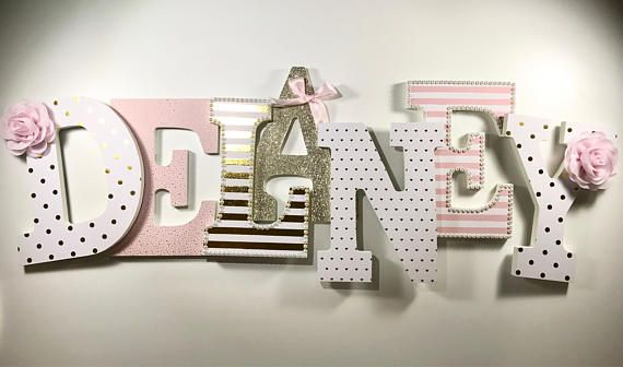 Pink girls nursery letters, gold nursery decor, pink and white ...