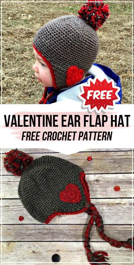 crochet Valentine Ear Flap Hat free pattern in 2020 | Ear ...