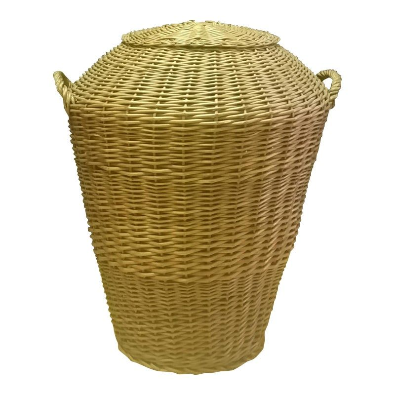Vintage 1960s Rattan Wicker Hamper Laundry Basket Wicker Hamper