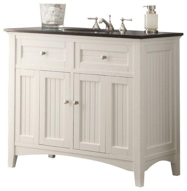 Chans Furniture CF 47532GT Thomasville 42 Inch White Bathroom Sink Vanity,  Black Granite Countertop