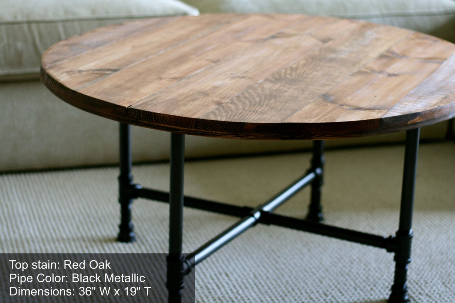 Round industrial coffee table reclaimed by sumsouthernsunshine round wood coffee table with industrial pipe legs rustic wood table handmade coffee table geotapseo Image collections