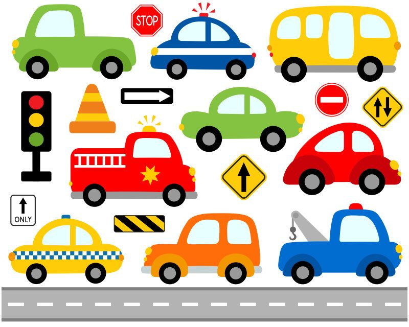 Cute Cars Digital Clip Art Transportation Road Signs