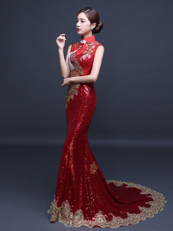 666186ef5 Custom Tailored Sequined Qipao / Cheongsam Dress with Mermaid Train -  CozyLadyWear Custom Tailored Sequined Qipao