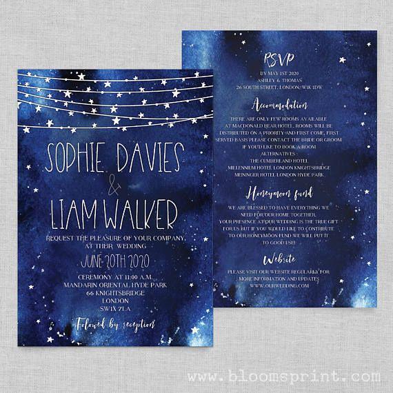 Night Sky Wedding Invitation Starry Invitations Navy Rustic