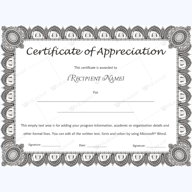 Certificate Of Appreciation Template For Word