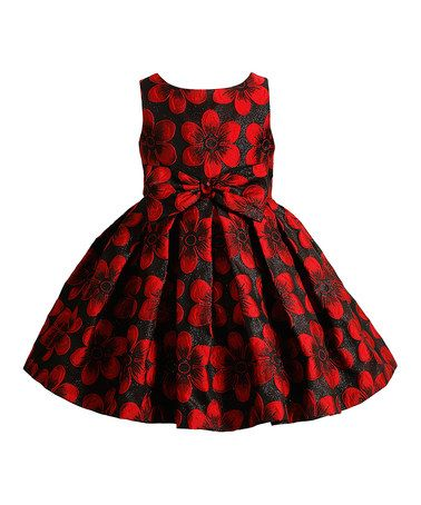 Look what I found on #zulily! Red & Black Floral Bow Dress - Toddler & Girls #zulilyfinds