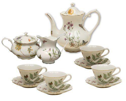 Grace Teaware 11-Piece Porcelain Tea Set Dahlia