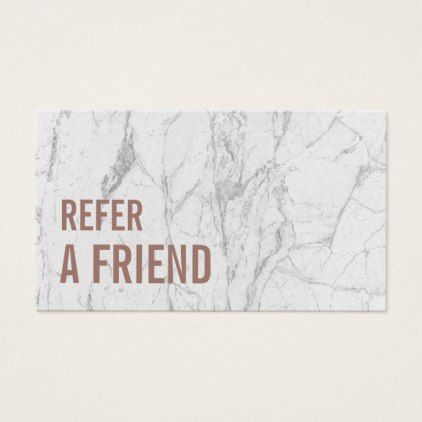 Referral Card Rose Gold Marble Beauty Salon Modern Style