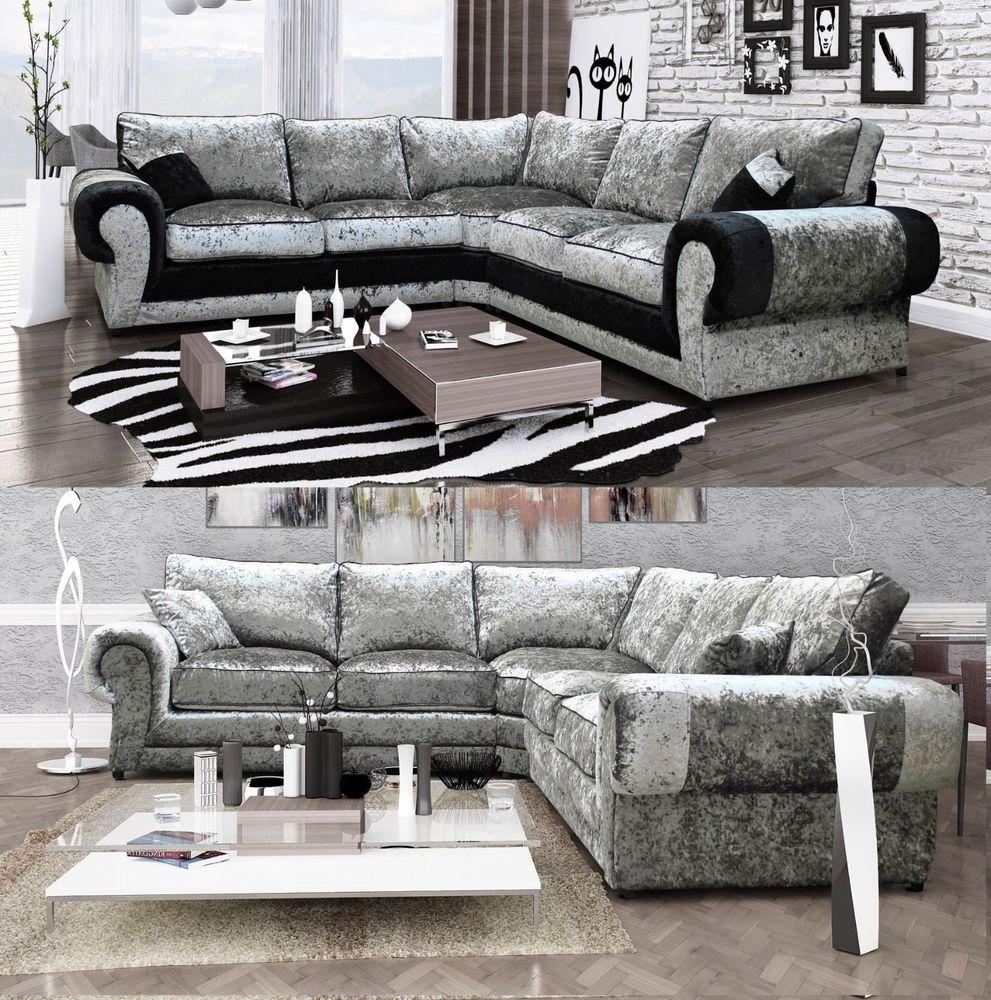 Peru Large Corner Sofa Suite Luxury Crushed Velvet Fabric Black Silver Sofa Suites Corner Sofa Crushed Velvet Fabric