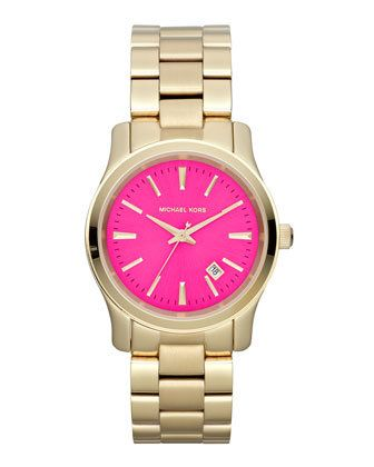 8645f8037037 Michael Kors Mid-Size Golden Stainless Steel Pink-Face Three-Hand Watch