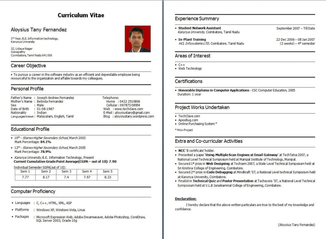 Resume For Freshers Resume format download, Resume