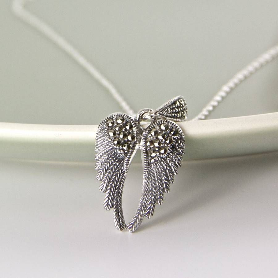 angel sterling protection necklace faith jewellery mantra wing silver
