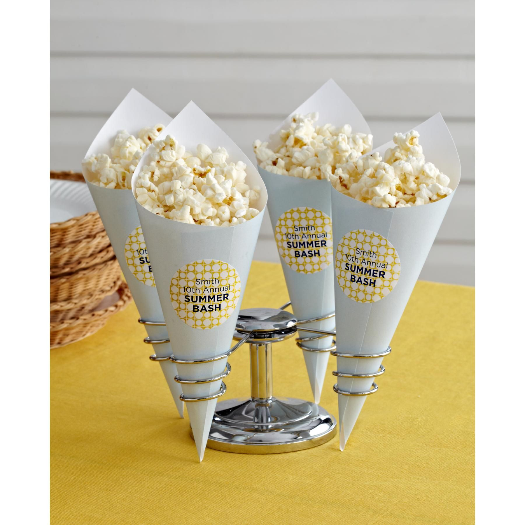 Serve up these cute popcorn cones at your next summer party. They\'re ...