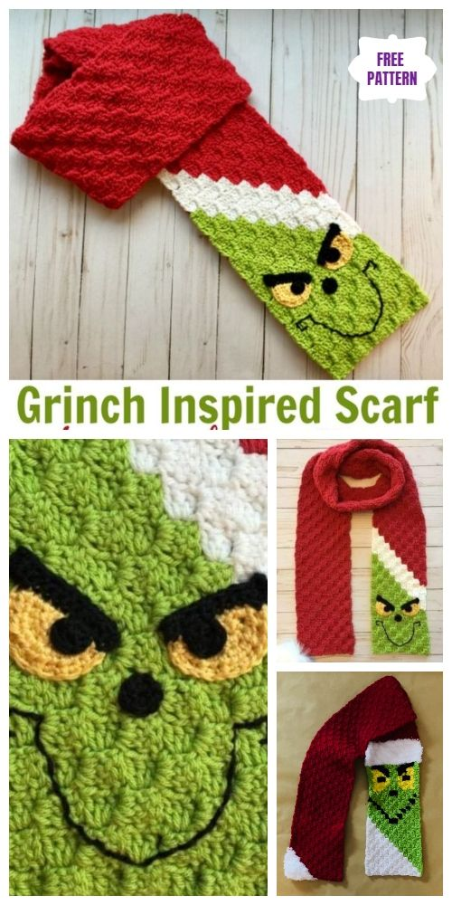 C2C Crochet Grinch Scarf Free Crochet Pattern - Video #grinchscarfcrochetpatternfree