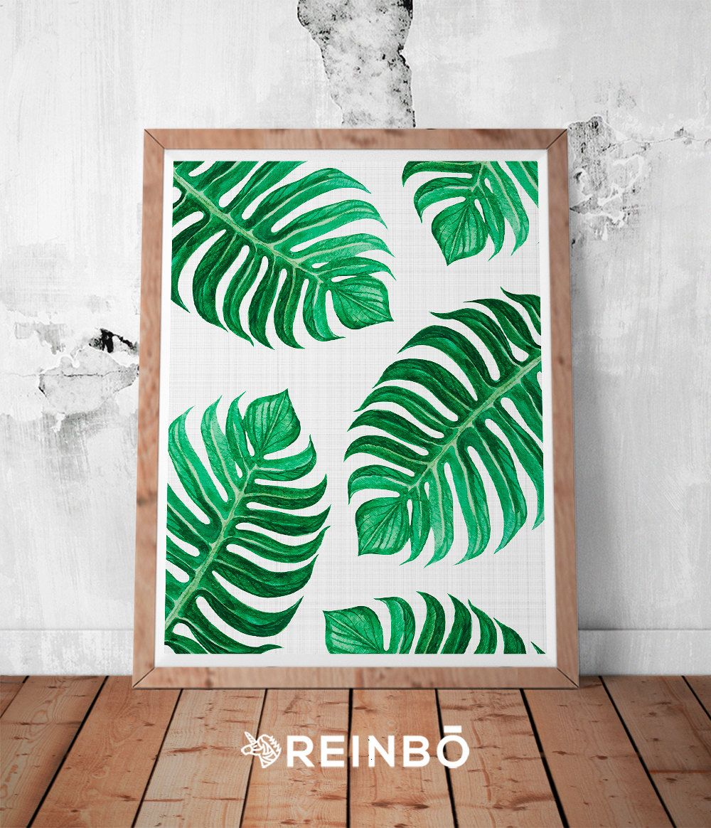 Leaf Wall Art Print Printable Large Poster Tropical Plant Photo