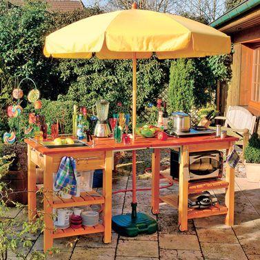Sommerküche Sommerküche, Gartenbar und Arbeitsflächen - gartenkamin selber bauen