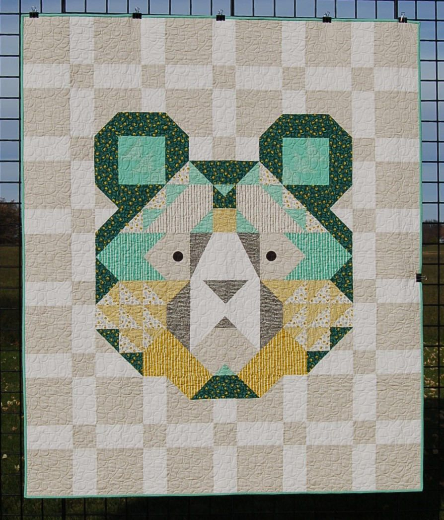 "Quilt for Sale, ""Big Sky Bear"" features the face of a friendly ... : bear quilts for sale - Adamdwight.com"