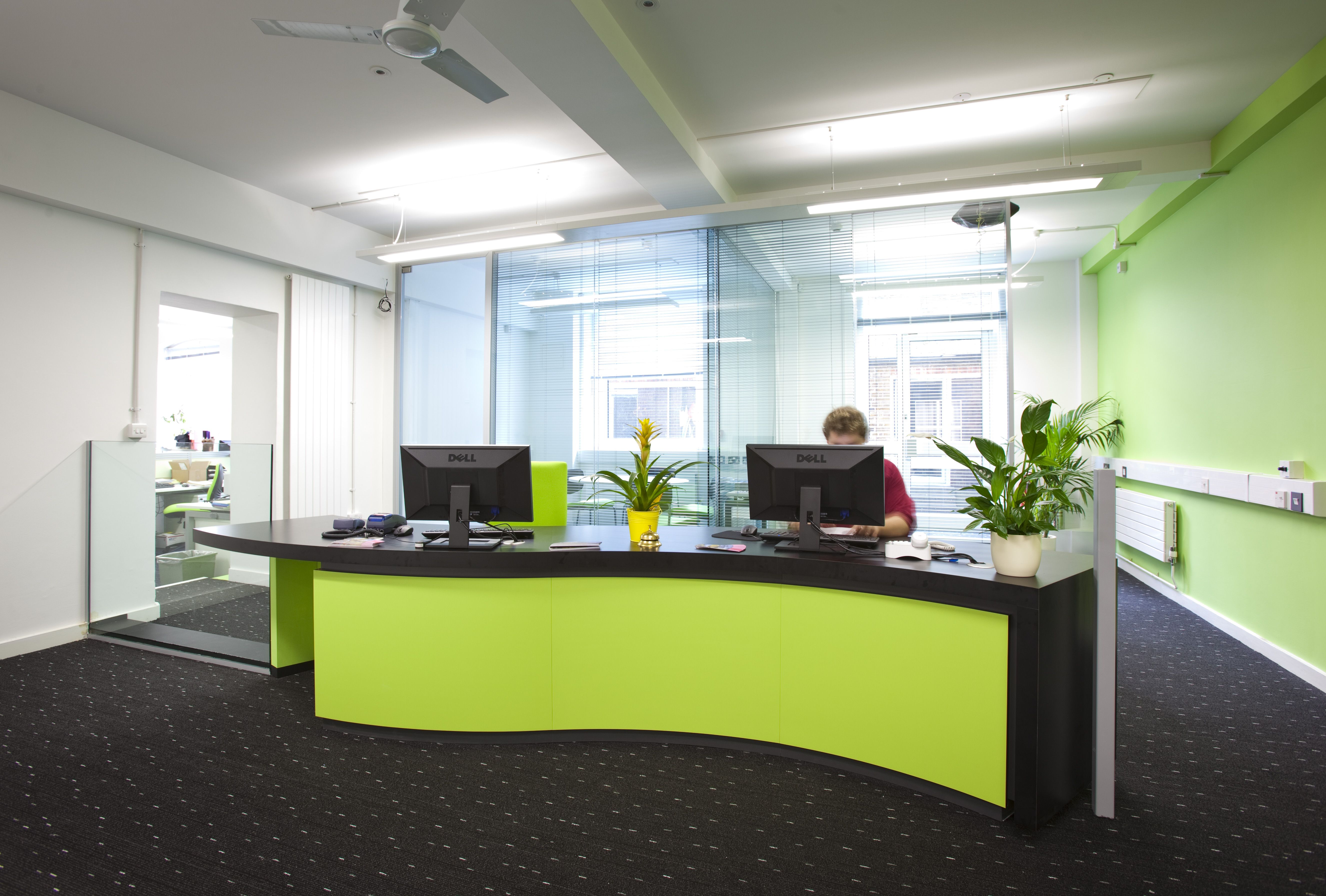 lime green office. Bespoke Reception Counter Installed In University Using Lime Green \u0026 Black Laminates. Office