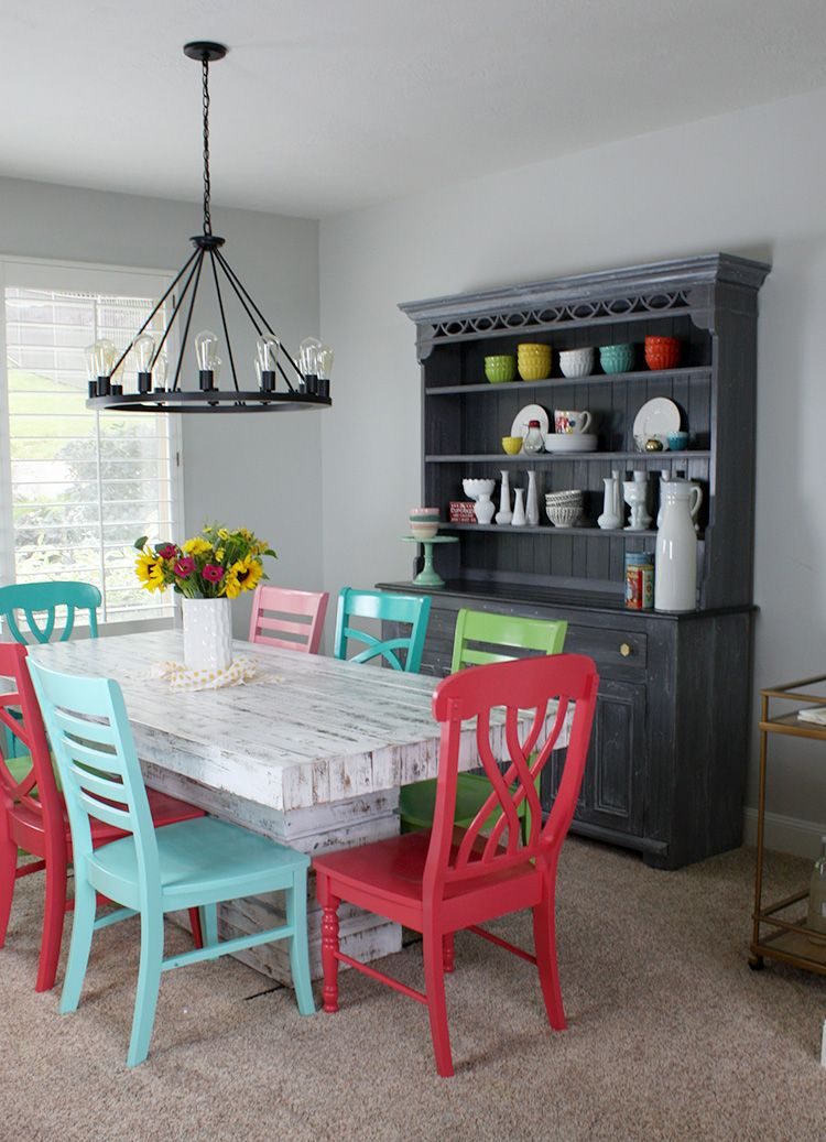 To Give The Room A Color Boost This Blogger Painted Eight Wooden Chairs Lively Shades Of Pink Blue Green And Red