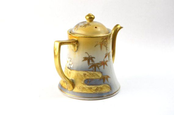 Hand Painted Japanese Teapot Gilded by GenerationUpcycle on Etsy