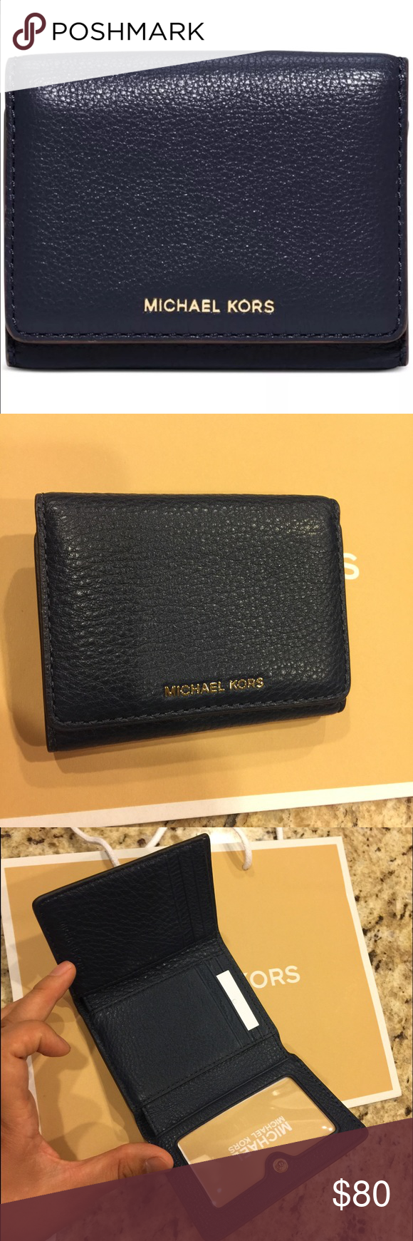 63f5195f3520 NWT MK billfold navy leather wallet Authentic Michael Kors Liane Small  Billfold Wallet in Navy Blue