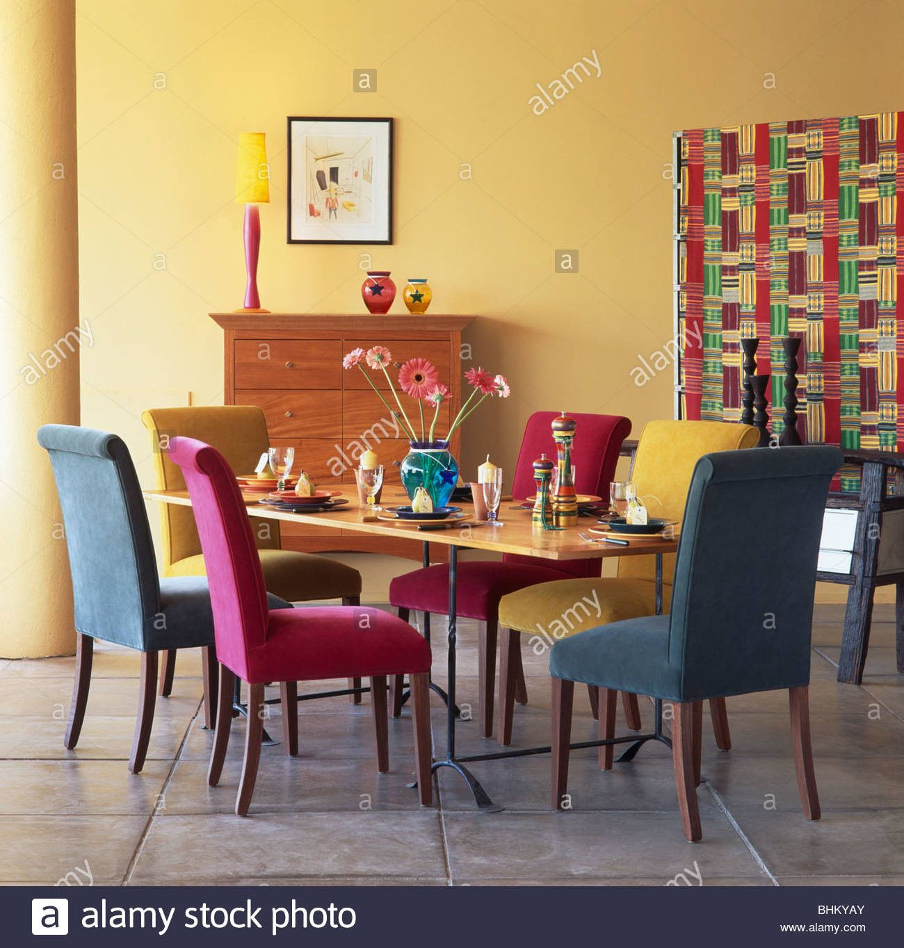 Dining Room Multicolored Chairs Pink Turquoise And Blue Velour Upholstered Dining Chairs Dining Room Colors Dining Room Sets Round Dining Room Sets