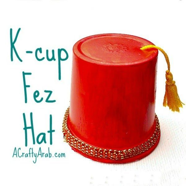 A Crafty Arab: K-cup Fez Hat Treat Holder Tutorial. Recycle those K-cups from your Keurig machine into these adorable Egyptian Fez Hats that can hold candy. Give them out to kids at your next Eid party or Ramadan Fitr mosque celebration.