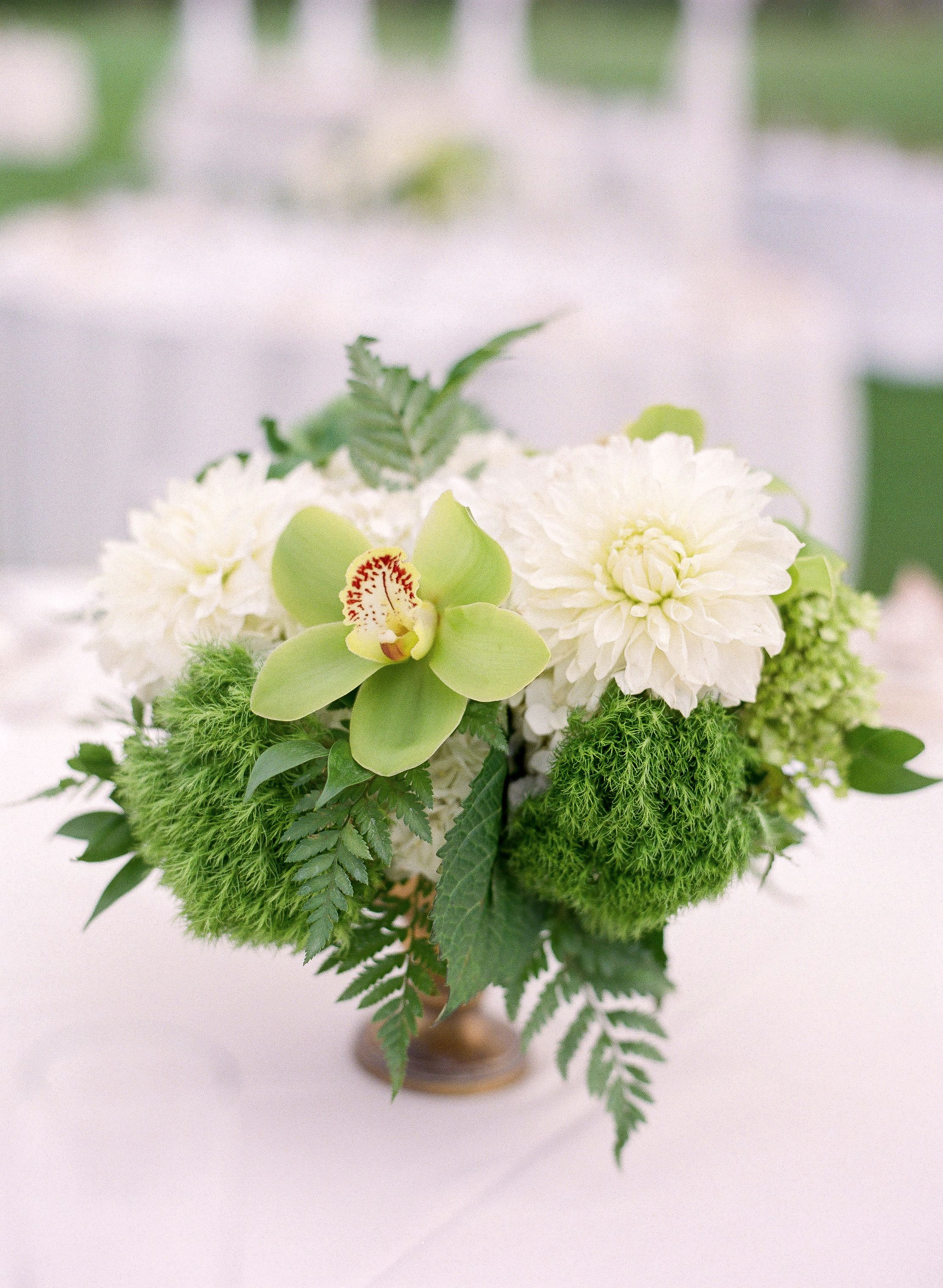 Green Trick, Orchid And Dahlia Centerpieces