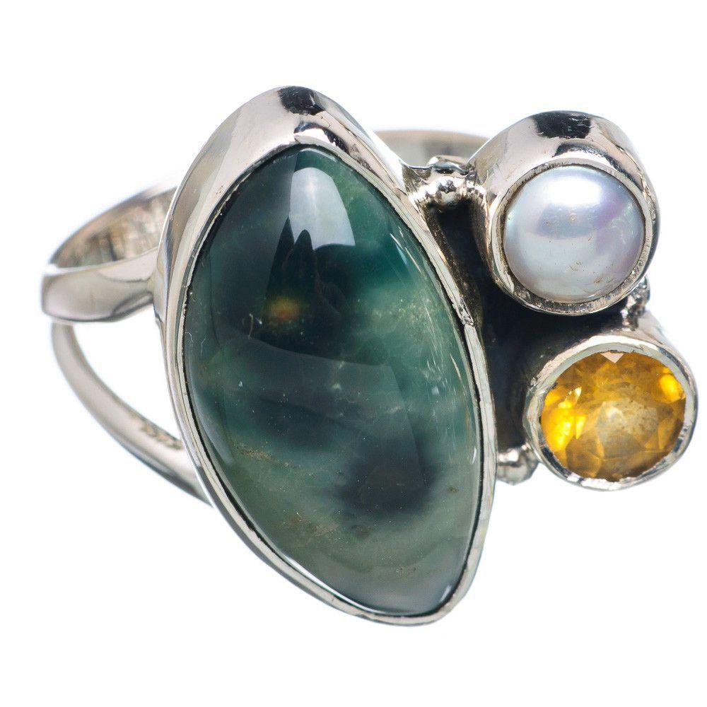 Rare Ocean Jasper, Citrine, Cultured Pearl 925 Sterling Silver Ring Size 6.25 RING693120