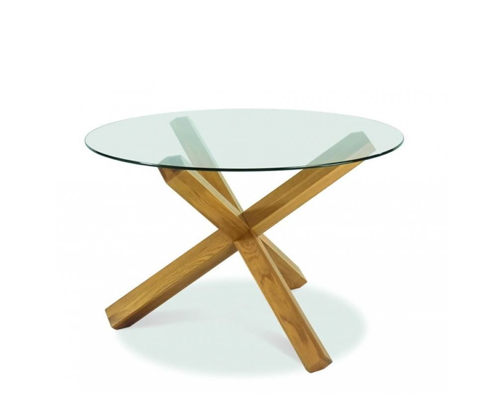 Lyon Oak Round Gl Top Dining Table Uk Delivery