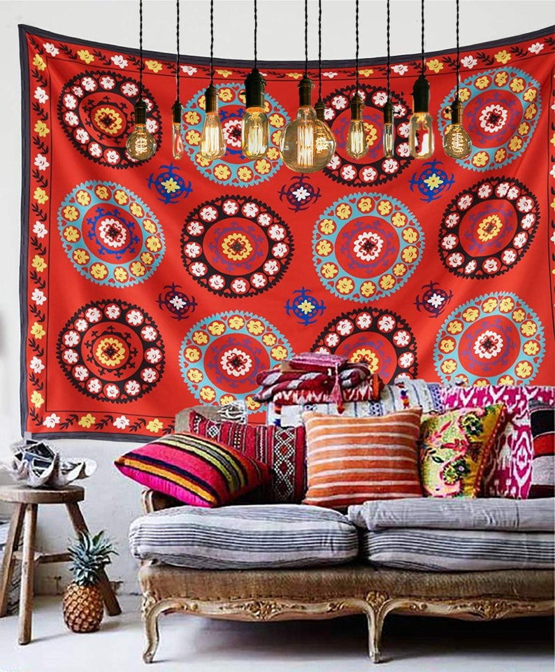 Moroccan Boho Medallion Tapestry Wall Decor In 2020 With Images